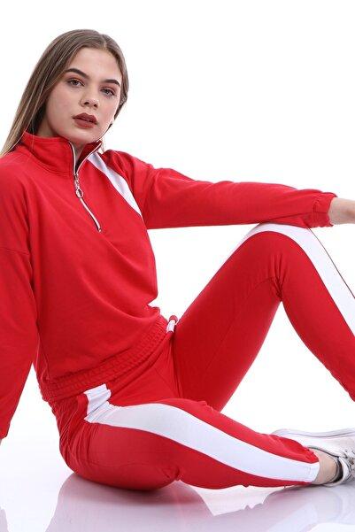 DIANKA FASHION Kadın Kırmızı Şeritli Fermuar Detaylı Eşofman Takımı