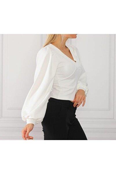 Miss Selens Kadın Beyaz Bluz