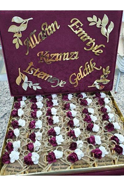 Mabel Kız Isteme Çikolatası Dikdörtgen Bordo Altın Pleksi Yazılı Kutu