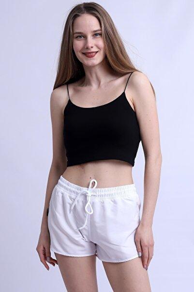 Deafox Beyaz Cepsiz Kadın Deniz Şortu