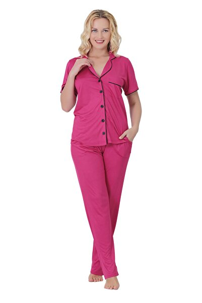 TİESSİ Kadın Siklamen Gömlek Yaka Ikili Pijama Takımı