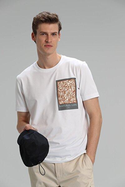 Lufian Mark Modern Grafik T- Shirt Beyaz