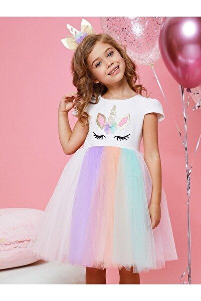 MiniKidsDero Kız Çocuk Ekru Unicorn Taçlı Parti Elbisesi