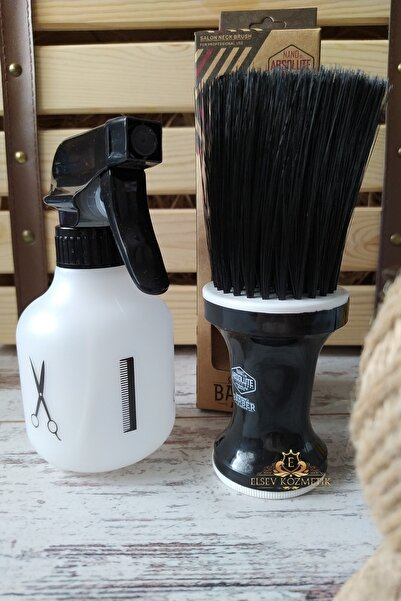 Nano Absolute Ense Fırçası Pudralı Siyah & Kuaför Berber Suluk Makas Logosu Mat Küçük Elsevkozmetik