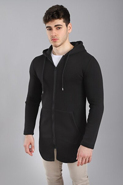Arlin Erkek Fermuarlı Kapşonlu Cepli Iç Kısım Polar Siyah Ceket