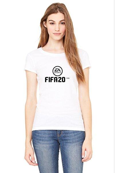 QIVI Fıfa 2020 Baskılı Beyaz Kadın Örme Tshirt