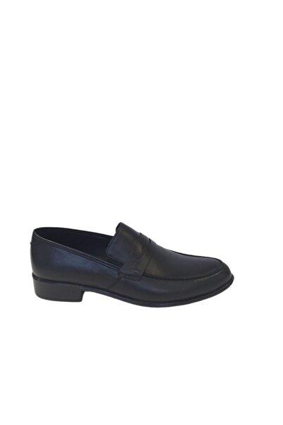 Venuma Erkek Siyah Hakiki Deri Ayakkabı