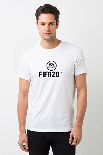 QIVI Fıfa 2020 Baskılı Beyaz Erkek Örme Tshirt