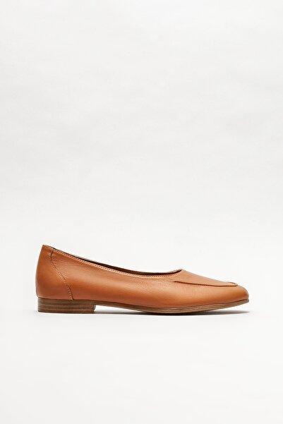 Elle Shoes Kadın Taba Deri  Babet
