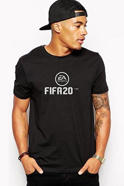 QIVI Fıfa 2020 Baskılı Siyah Erkek Örme Tshirt