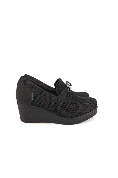 King Kadın Siyah Keten Ayakkabı