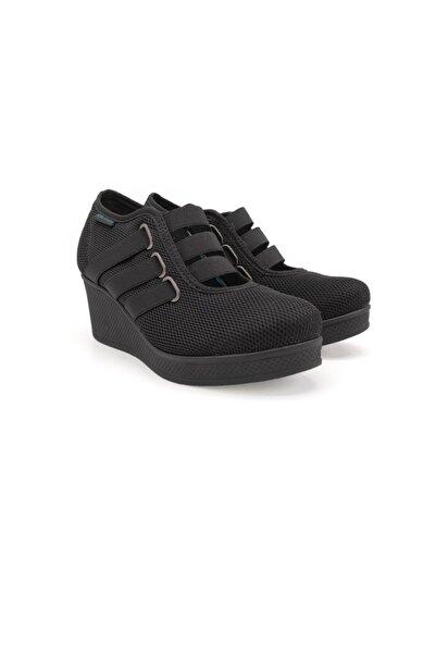 King Kadın  Siyah Keten Dolgu Taban Ayakkabı