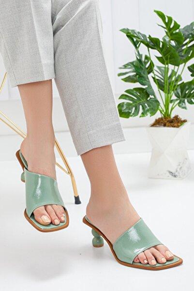 Hayalimdeki Ayakkabı Kadın Turkuaz Topuk Detay Terlik