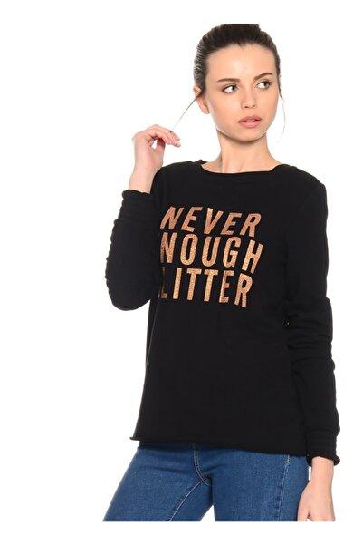 T-Box Kadın Siyah Düz Sweatshirt