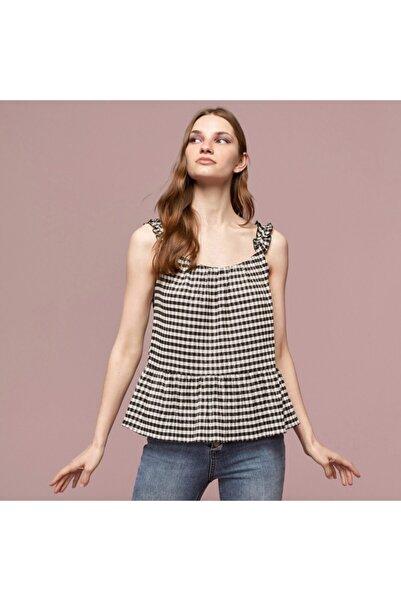 Mudo Ekoseli Fırfır Askı Detaylı Pamuklu Bluz