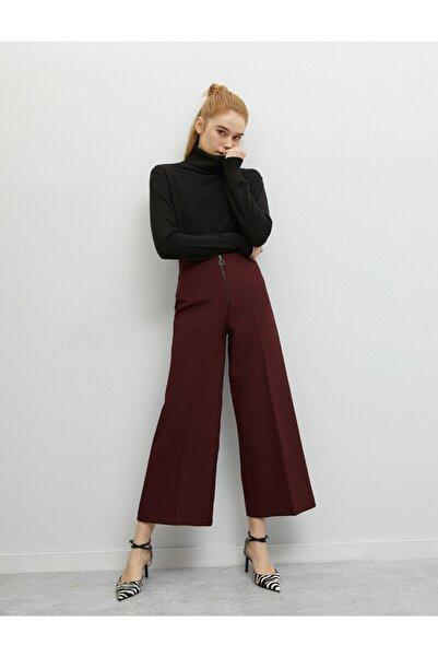 Koton Kadın Fermuar Detaylı Bordo Pantolon 0KAK42096UW
