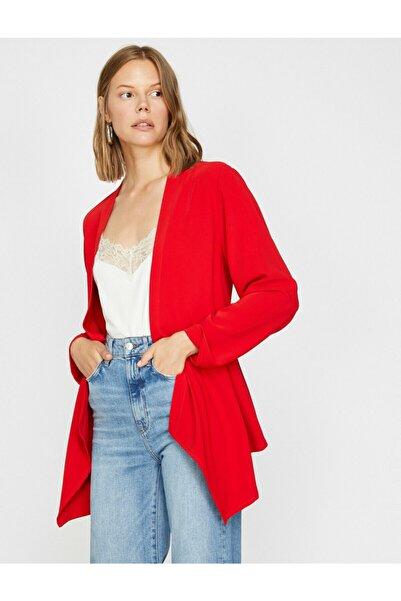 Koton Kadın Kırmızı Uzun Kollu V Yaka Ceket 0KAK52062UW