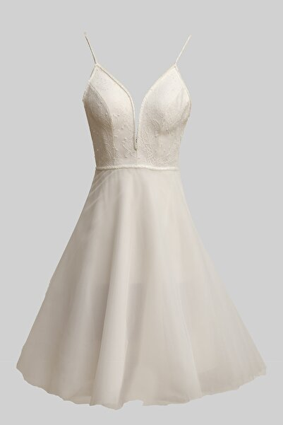Barrus Kadın Beyaz V Yaka Elbise