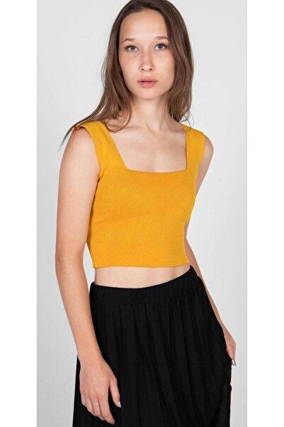 bubutik Kadın Sarı Kare Yaka Crop Bluz Esnek Triko