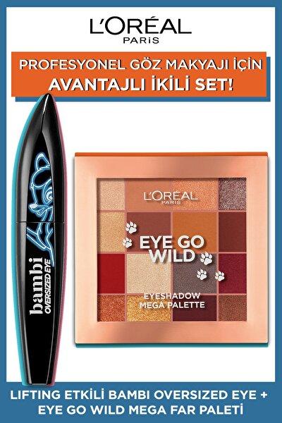 L'Oreal Paris Lifting Etkili Bambi Oversized Eye Siyah Maskara + Eye Go Wild Mega Far Paleti