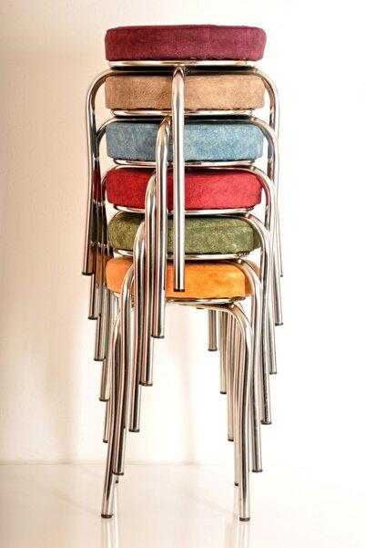 yılmaz masacılık 6 Lı Renkli Kumaş Ahtapot Tabure Mutfak Taburesi Demir Tabure