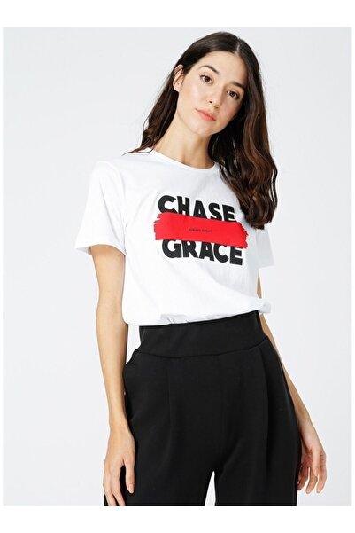 Fabrika Kadın Beyaz Baskılı Tshirt