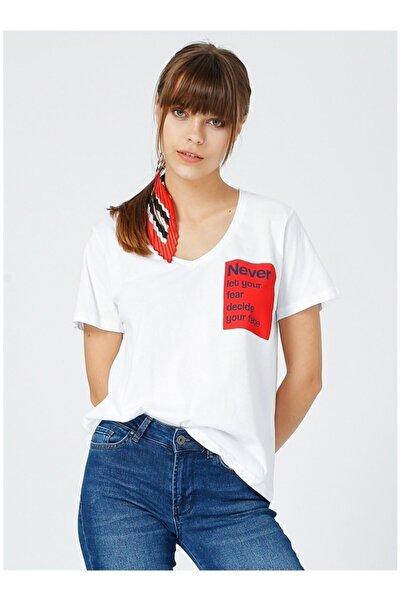 Fabrika Kadın Beyaz Baskılı T-Shirt