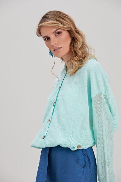 Y-London Kadın Su-Yeşili Kapüşonlu Ceket YL-CE99988