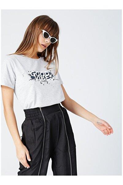 Fabrika Kadın Gri Baskılı T-shirt