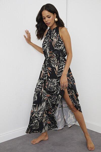 Cool & Sexy Kadın Siyah Halter Yaka Maxi Elbise BK1151
