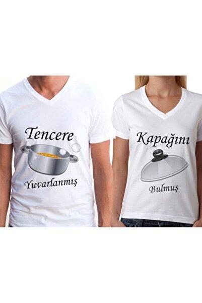 gold fotoğrafçılık Beyaz Sevgili Tişörtleri Çift Kombin Tencere Kapak 2 Adet