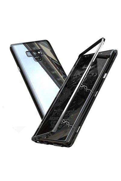 Samsung Galaxy Note 8 Uyumlu Kılıf Mıknatıslı Magnet Çerçeve Cam Arka Kapak Siyah