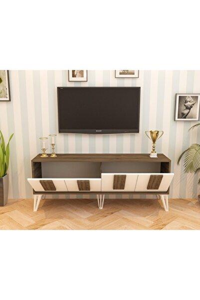 cantek Piano Tv Sehpası Ceviz-beyaz