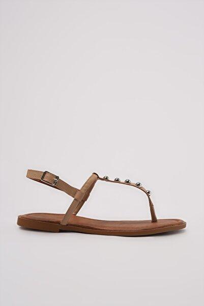 TRENDYOLMİLLA Vizon Zımba Detaylı Kadın Sandalet TAKSS21SD0007