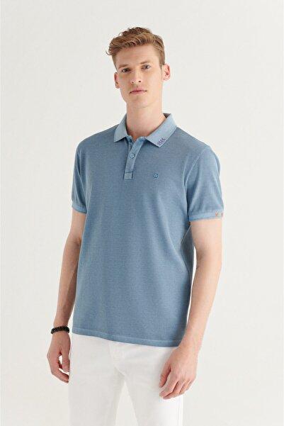 Avva Erkek Mavi Polo Yaka Düz Nakış Detaylı Ve Yırtmaçlı T-shirt A11y1160