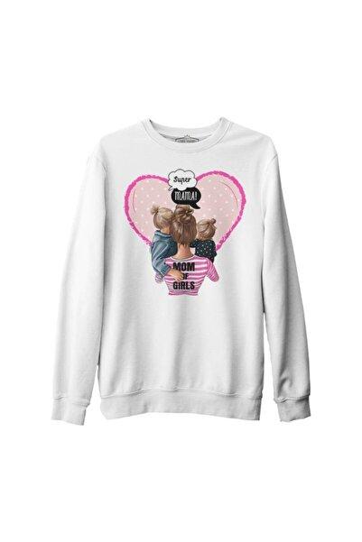 Lord T-Shirt Unisex Beyaz Mom Of Girls Anneler Günü Kalın Sweatshirt