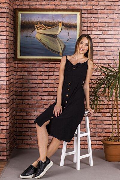 STAMINA Bayan Askılı Önü Bağcıklı Elbise-5kt12