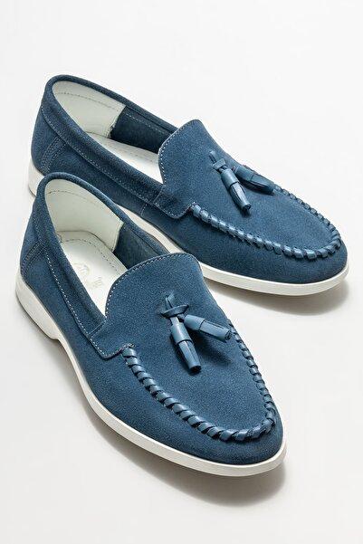 Elle Shoes Erkek Mavi Deri Günlük Loafer Ayakkabı