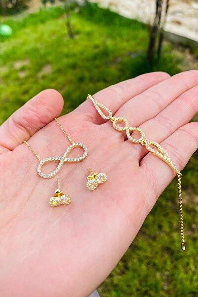 Zuk Collection Altın Kaplama 925 Ayar Gümüş Sonsuzluk Kadın Kolye Bileklik Ve Küpe Seti