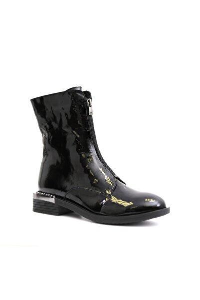 Beta Shoes Hakiki Deri Kadın Siyah Rugan Bot