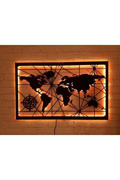 DMC Design Dünya Haritası Ahşap Led Işıklı Duvar Tablosu
