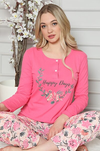 FREZYA Pembe Çiçekli Düğmeli Uzun Kollu Kadın Pijama Takımı