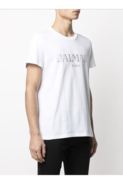 BALMAIN Erkek Beyaz Balmain Silver Print Regular Fit T-shirt