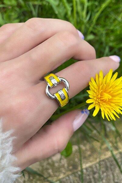 TAKIŞTIR Kadın Gümüş Sarı Zincir Figürlü Ayarlanabilir Yüzük