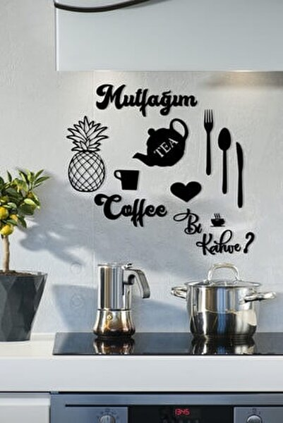Siyah Mutfağım Ananas  Mutfak Konsepti Ahşap Duvar Dekoru 9 Parça