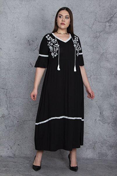 Şans Kadın Siyah Nakış Ve Dantel Detaylı V Yakalı Katkat Viskon Elbise 65N24194