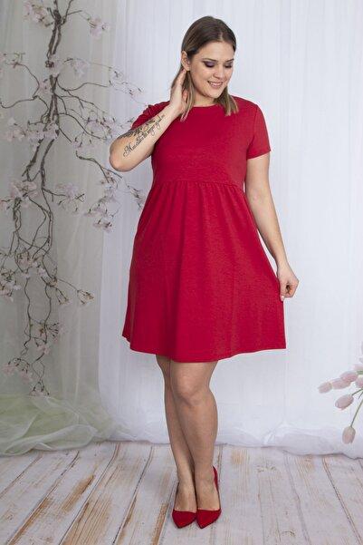 Şans Kadın Kırmızı Bel Detaylı Arka Fermuarlı Elbise 65N24169