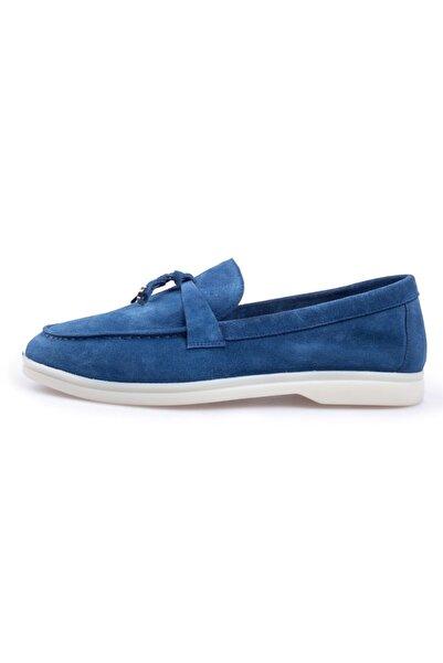 Flower Kadın  Mavi Süet Loafer Ayakkabı
