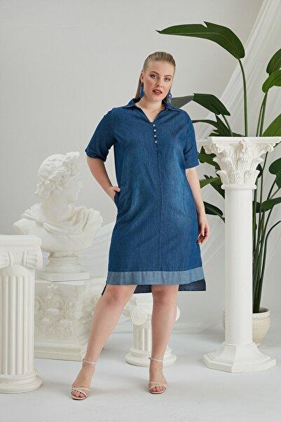 RMG Kadın Mavi Etek ve Cep Detaylı Büyük Beden Kot Elbise