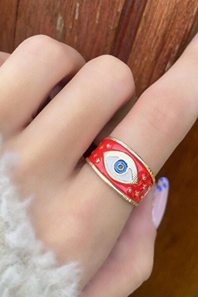 TAKIŞTIR Altın Renk Kırmızı Göz Figürlü Ayarlanabilir Yüzük